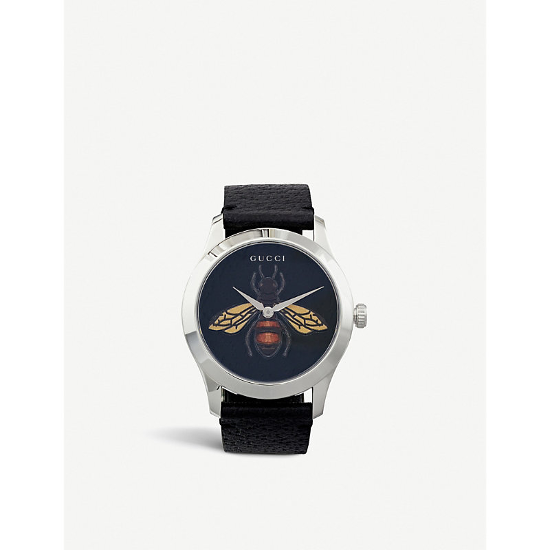 GUCCI   YA1264067 G-Timeless Gold PVD And Leather Watch   Goxip