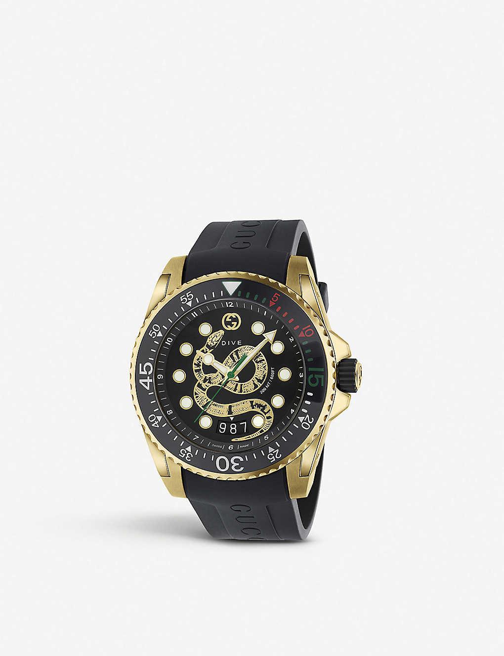 da88264d0 GUCCI - YA136219 Gucci Dive gold tone watch with snake design ...