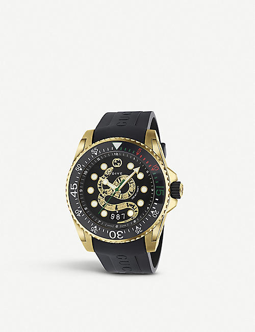 7b605137337 GUCCI YA136219 Gucci Dive gold tone watch with snake design