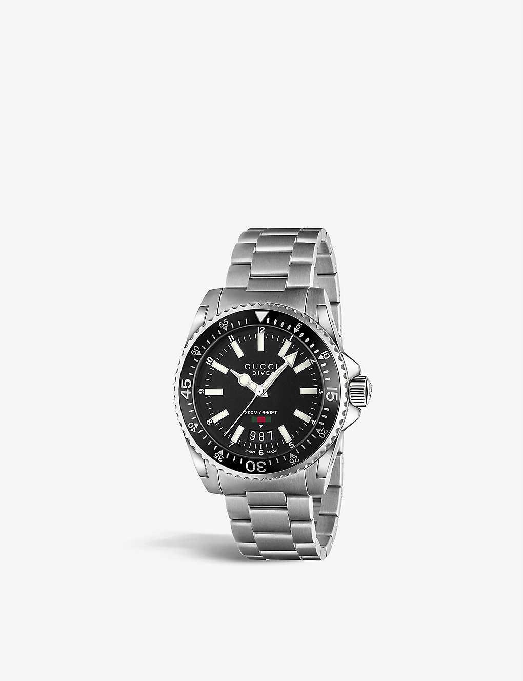 4ec3dc3efdc YA136301 Dive stainless steel watch - Black ...