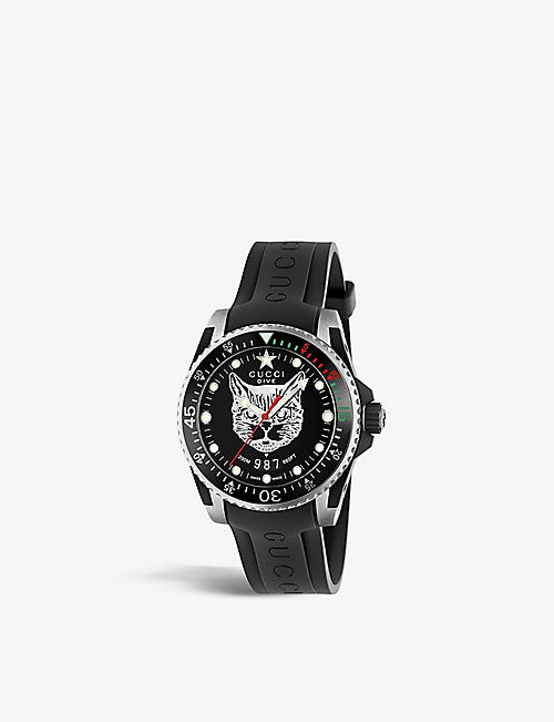 GUCCI YA136320 Gucci Dive stainless steel and rubber watch