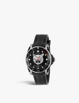 GUCCI YA136320 Gucci Dive watch with a feline dial and rubber strap