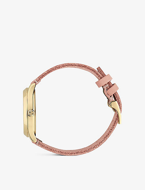 GUCCI YA136322 Gucci Dive yellow-gold watch with a feline dial