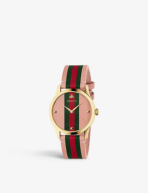 223de646735 GUCCI YA136322 Gucci Dive yellow gold-plated watch