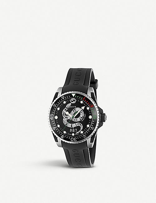 GUCCI: YA136323 Gucci Dive watch with snake design