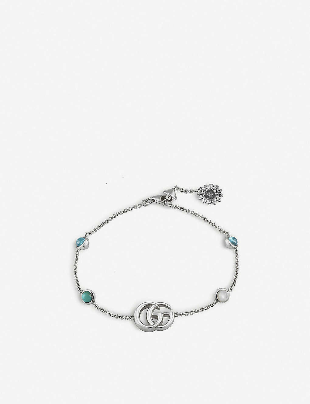 07502716171 GUCCI - GG Marmont sterling silver and mother-of-pearl bracelet ...