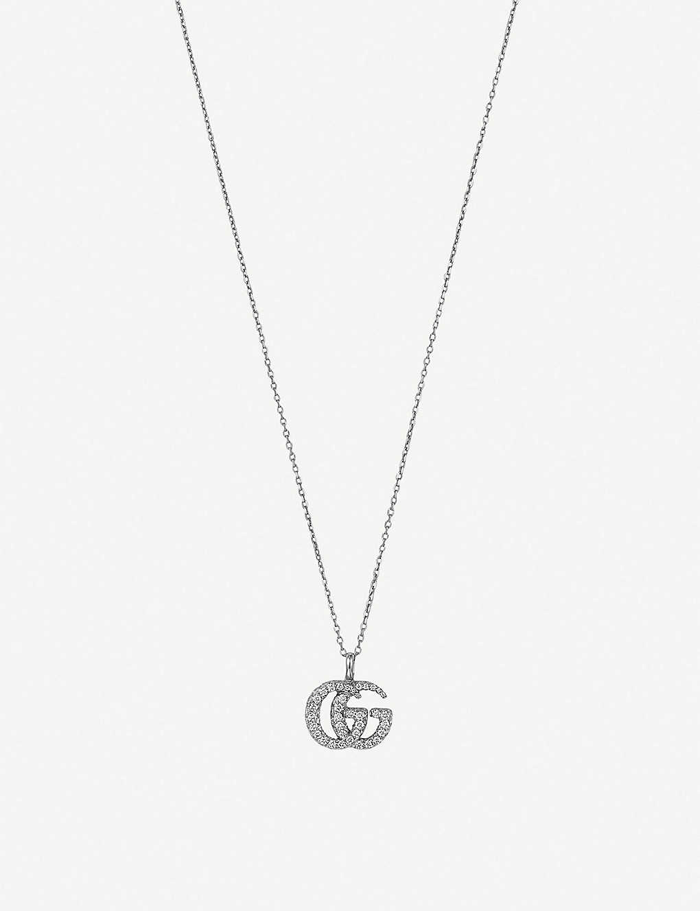 dabbcdff7 GUCCI - GG Running 18ct white-gold and diamond necklace   Selfridges.com