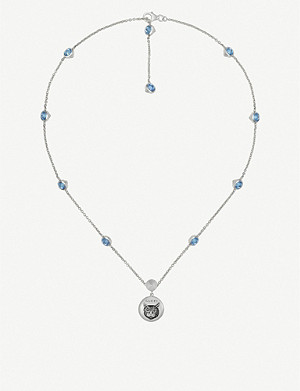 GUCCI Blind for Love cat-engraved sterling silver and blue zirconia necklace