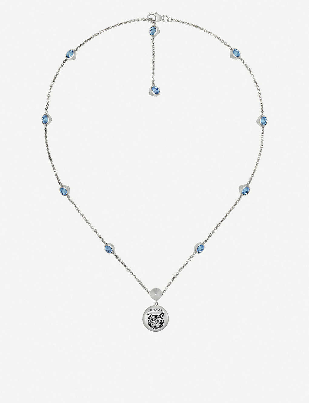 d374624ed GUCCI - Blind for Love cat-engraved sterling silver and blue ...