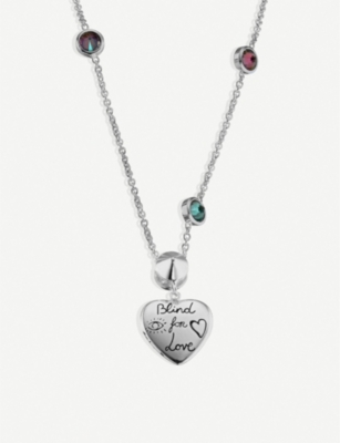 GUCCI Blind for Love sterling silver and multi-coloured zirconia necklace