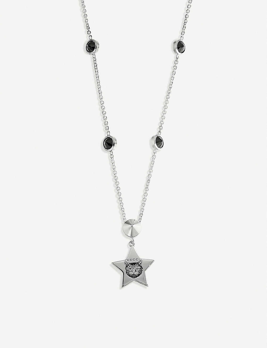 3d57910e ... Blind for Love cat-engraved sterling silver and black spinels necklace  ...