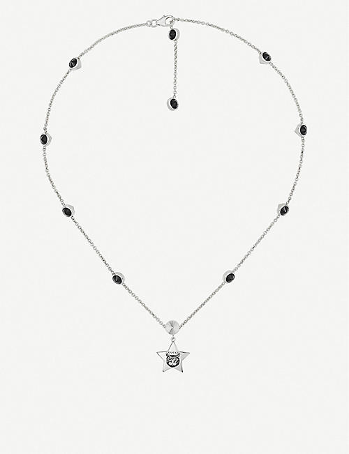 GUCCI Blind for Love cat-engraved sterling silver and black spinels necklace