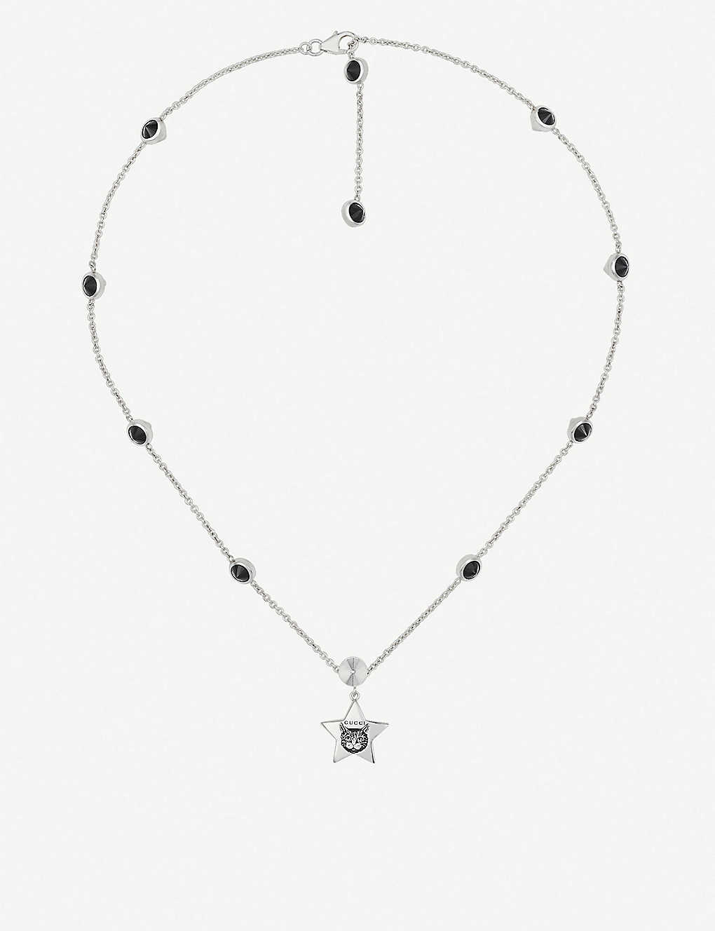 64d14b8d2 GUCCI Blind for Love cat-engraved sterling silver and black spinels necklace