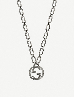 GUCCI Interlocking G sterling silver logo necklace