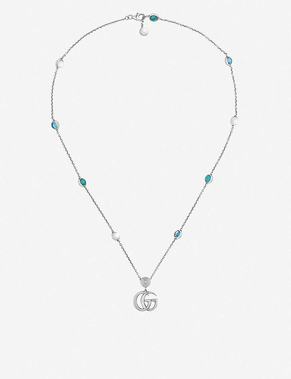 4f76899b8 GUCCI - GG Marmont sterling silver and mother-of-pearl necklace ...