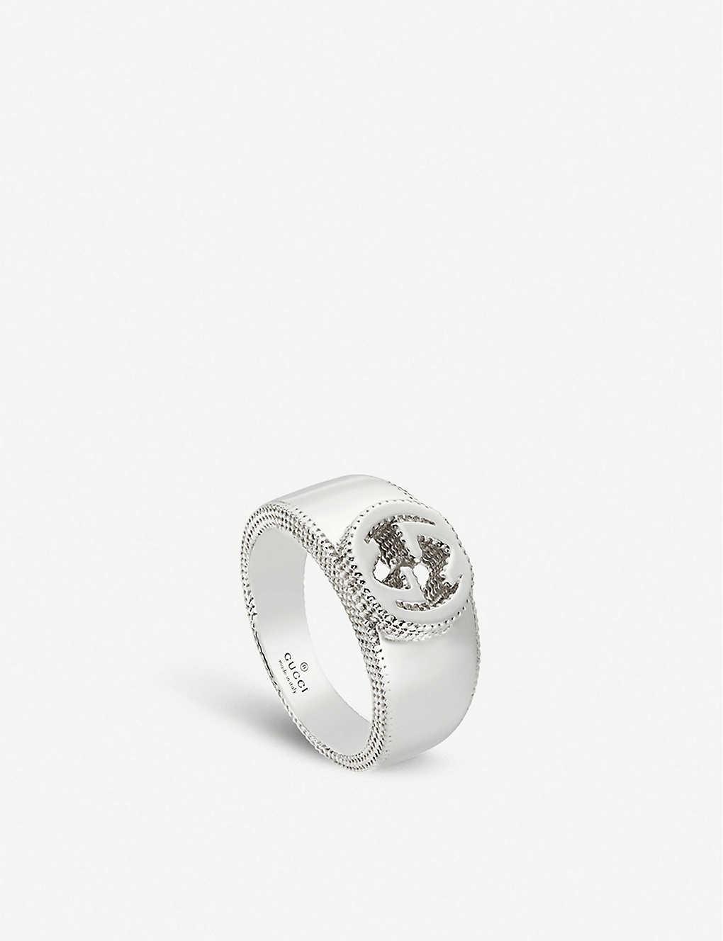 4d58db000 GUCCI - Interlocking G sterling silver ring | Selfridges.com