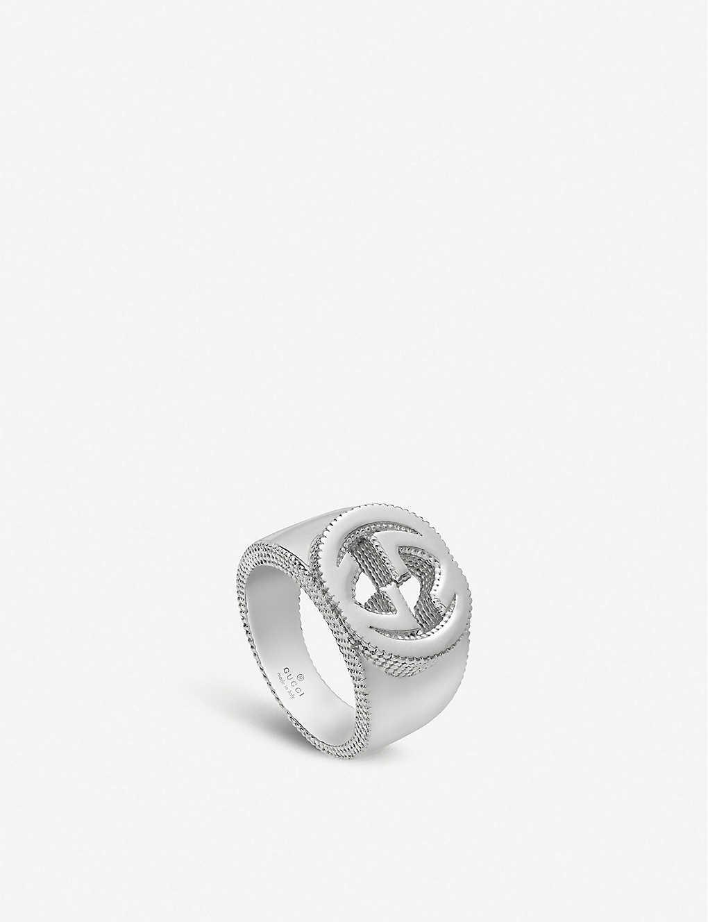 8cdd46893 GUCCI - Interlocking G sterling silver ring   Selfridges.com