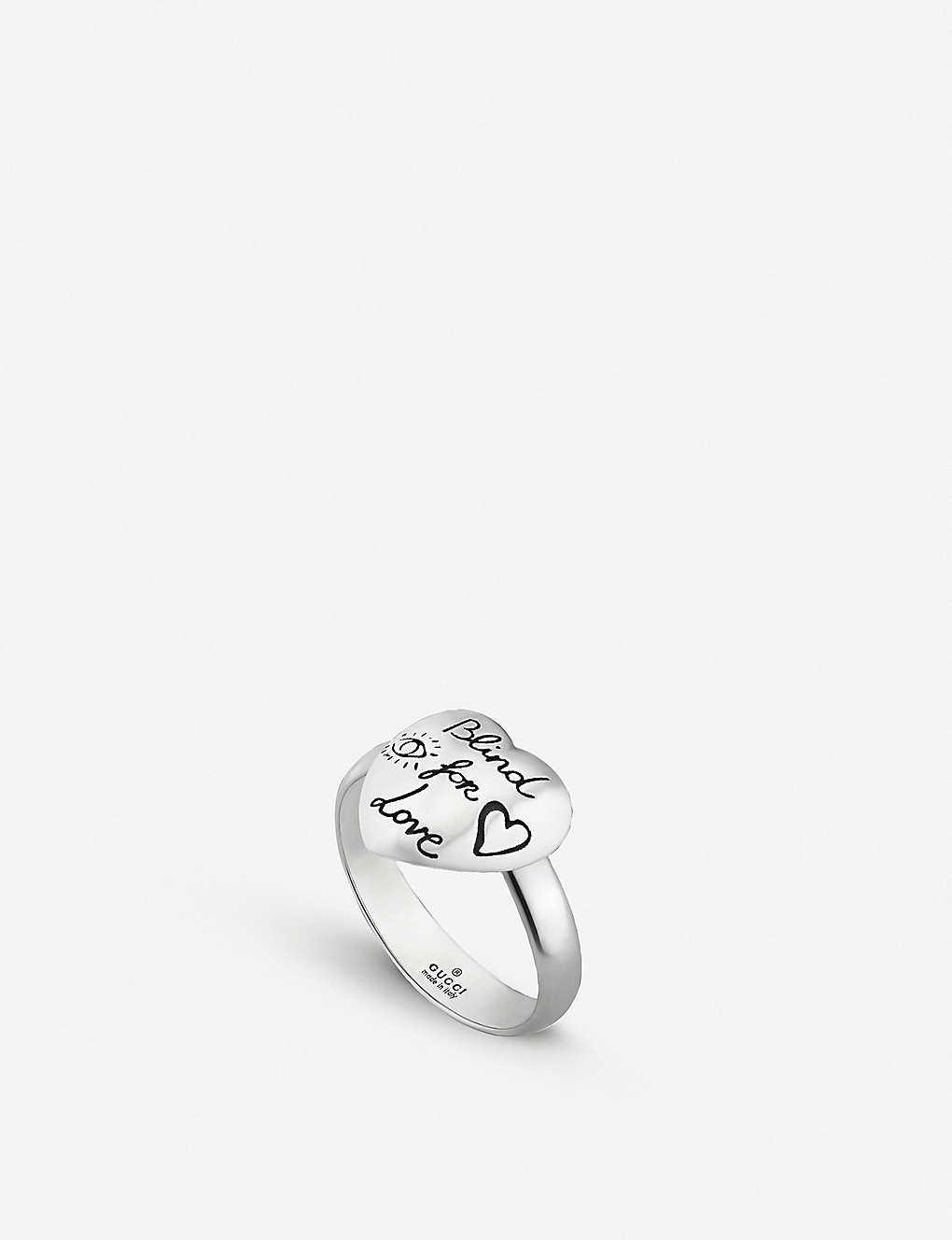 851807af0 GUCCI - Blind For Love heart shape sterling silver ring | Selfridges.com