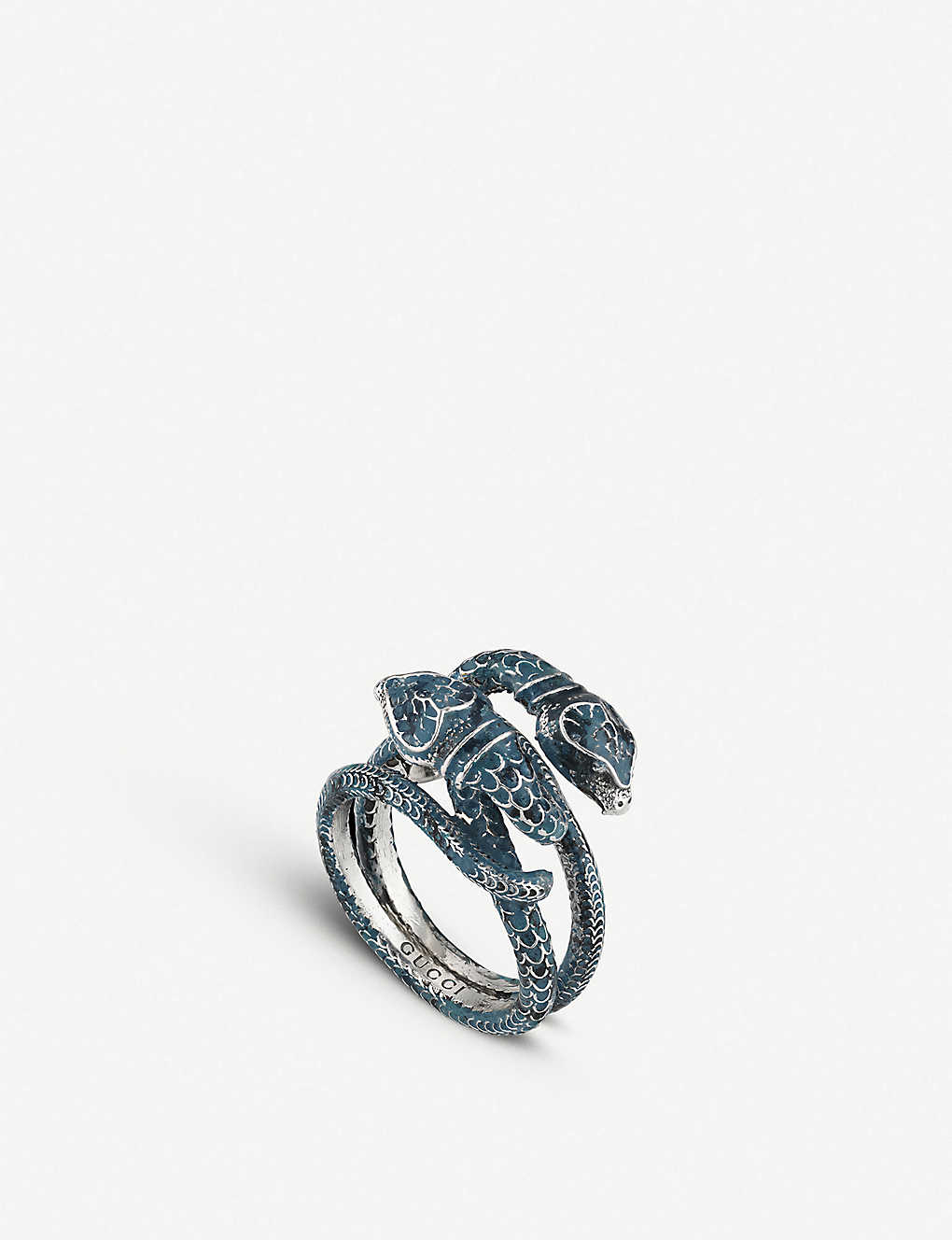 844348360 GUCCI - Gucci Garden sterling silver and enamel snakes ring ...