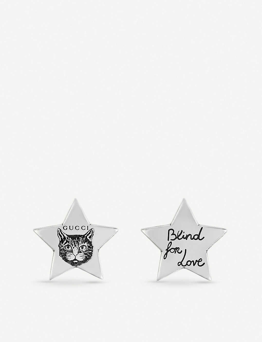 d7a225fe5 GUCCI - Blind for Love cat-engraved sterling silver earrings ...