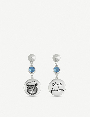 GUCCI Blind for Love engraved sterling silver and blue zirconia earrings