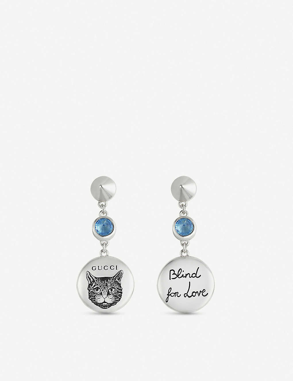 23e483af1cf GUCCI - Blind for Love engraved sterling silver and blue zirconia earrings