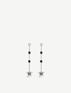 GUCCI Blind for Love cat-engraved sterling silver and black spinel earrings