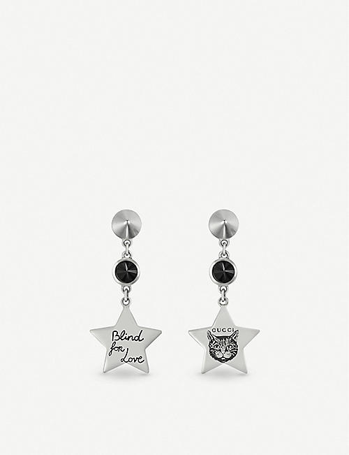 2019517fa GUCCI Blind for Love star-shaped sterling silver and black spinel earrings