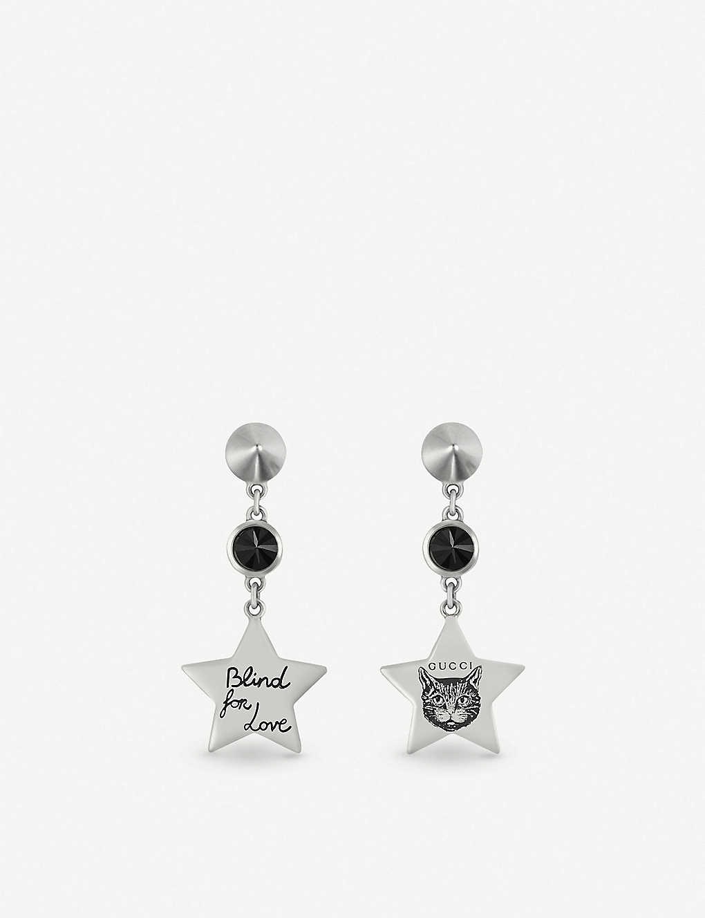 7b5acbbd7 Blind for Love star-shaped sterling silver and black spinel earrings ...
