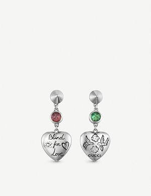 GUCCI Blind for Love sterling silver and multi-coloured zirconia earrings