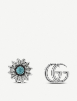 GUCCI GG Marmont gemstone and sterling silver stud earrings