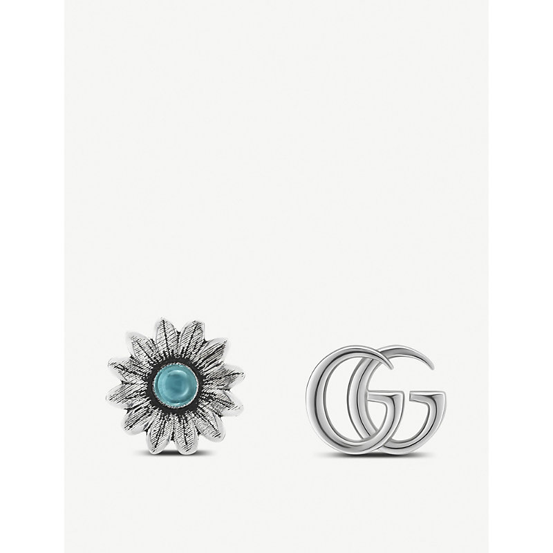 01901448488 GUCCI GG MARMONT GEMSTONE AND STERLING SILVER STUD EARRINGS