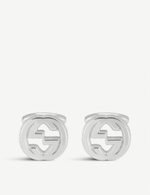GUCCI Interlocking G silver cufflinks