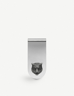 GUCCI Gatto engraved silver money clip