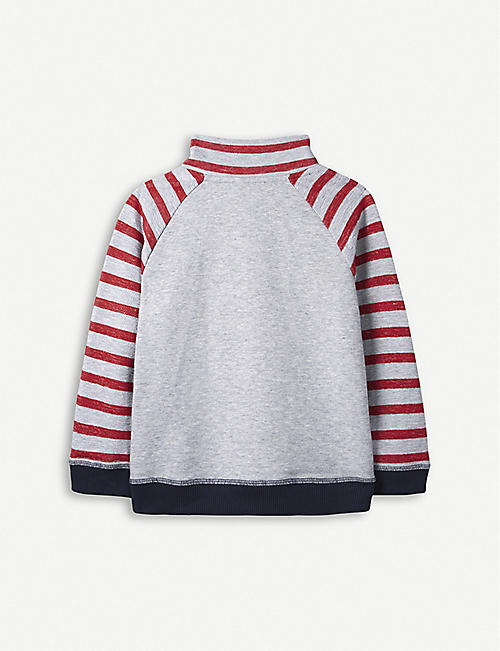 THE LITTLE WHITE COMPANY Striped boat-embroidered cotton sweatshirt