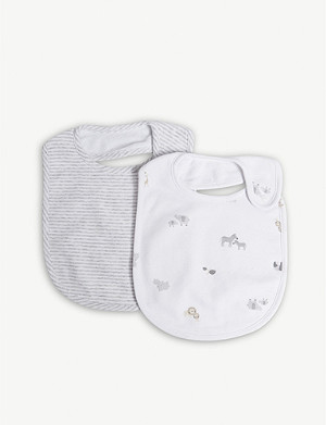 THE LITTLE WHITE COMPANY Animal Friends cotton bibs 2-pack