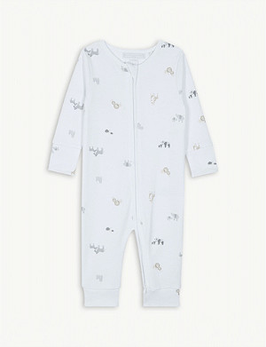 THE LITTLE WHITE COMPANY Animal Friends zip sleepsuit 0-24 months