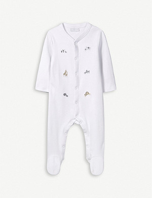 THE LITTLE WHITE COMPANY Animal embroidered cotton sleepsuit