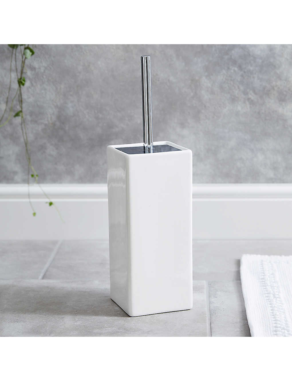 The White Company Newcombe Ceramic Toilet Brush Holder In White