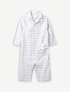 THE LITTLE WHITE COMPANY Gingham cotton sleepsuit with toy