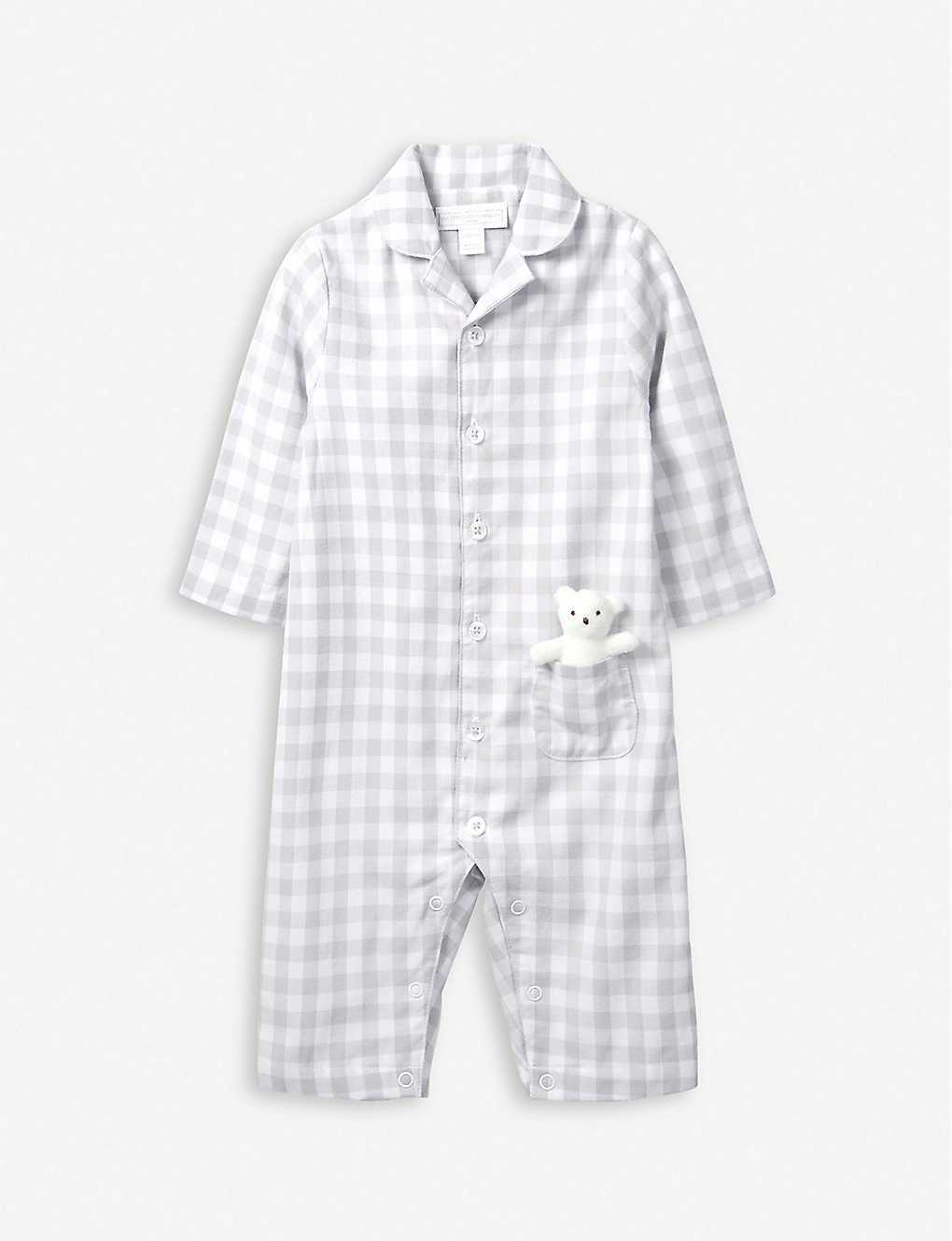 THE LITTLE WHITE COMPANY: Gingham cotton sleepsuit with toy