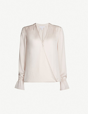 THE WHITE COMPANY Wrap-front satin shirt
