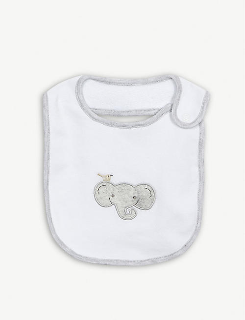 THE LITTLE WHITE COMPANY Striped sleepsuit and elephant bib set 0-24 months