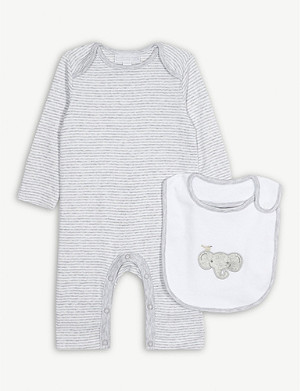 THE LITTLE WHITE COMPANY 条纹 sleepsuit 和大象围套 0-24 月
