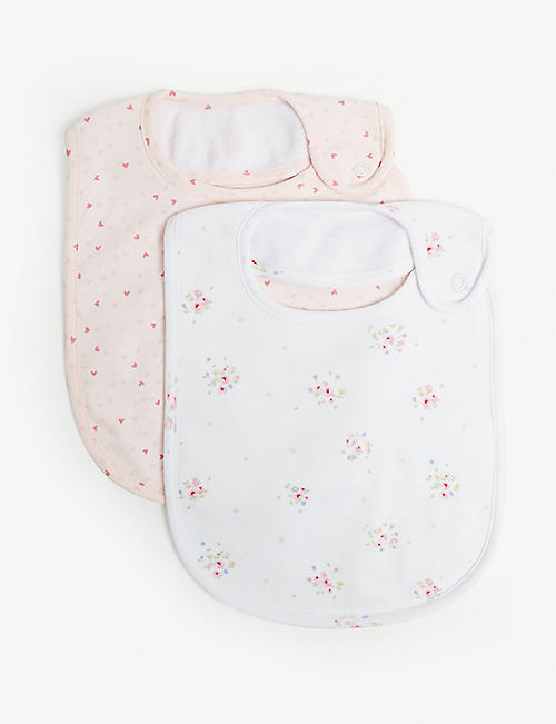 THE LITTLE WHITE COMPANY Floral & heart cotton-blend bibs set