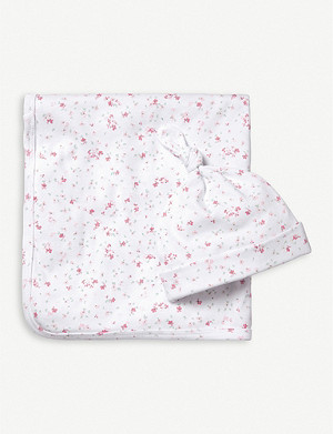 THE LITTLE WHITE COMPANY Floral-print cotton blanket and hat set