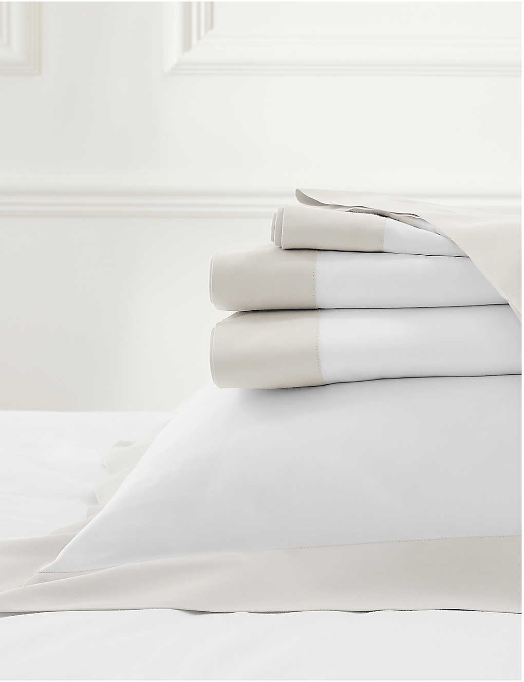 THE WHITE COMPANY: Camborne cotton-sateen double fitted sheet 140x190cm