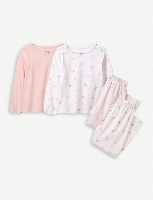 THE LITTLE WHITE COMPANY Pink bow pyjamas set of two