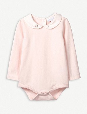 THE LITTLE WHITE COMPANY Star embroidered collar bodysuit 0-24 months