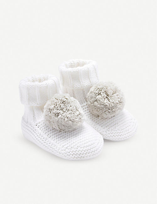 THE LITTLE WHITE COMPANY Knitted pompom booties